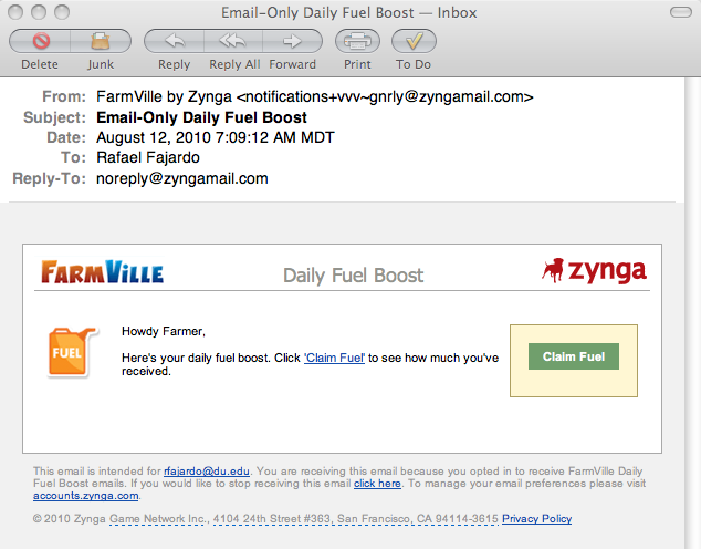 screen capture of email message from Zynga awarding me a daily fuel boost
